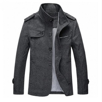 High Quality Men's Wool Blends Single Breasted Coat Designer Fashion Stand Collar Business Casual Wool Coat For Men
