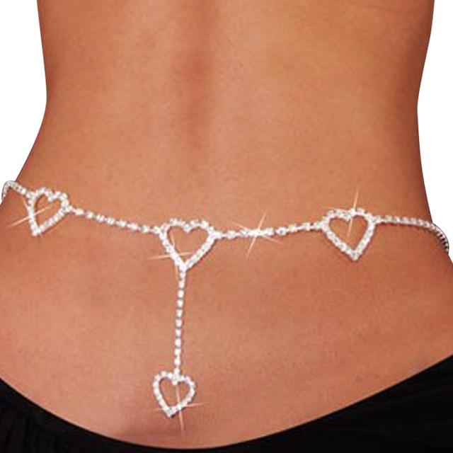 New 90s Vintage Flash Drill Heart Waist Chain Cute Bling Night Club Disco  Belt Rhinestone Heart 609e41cc4c22