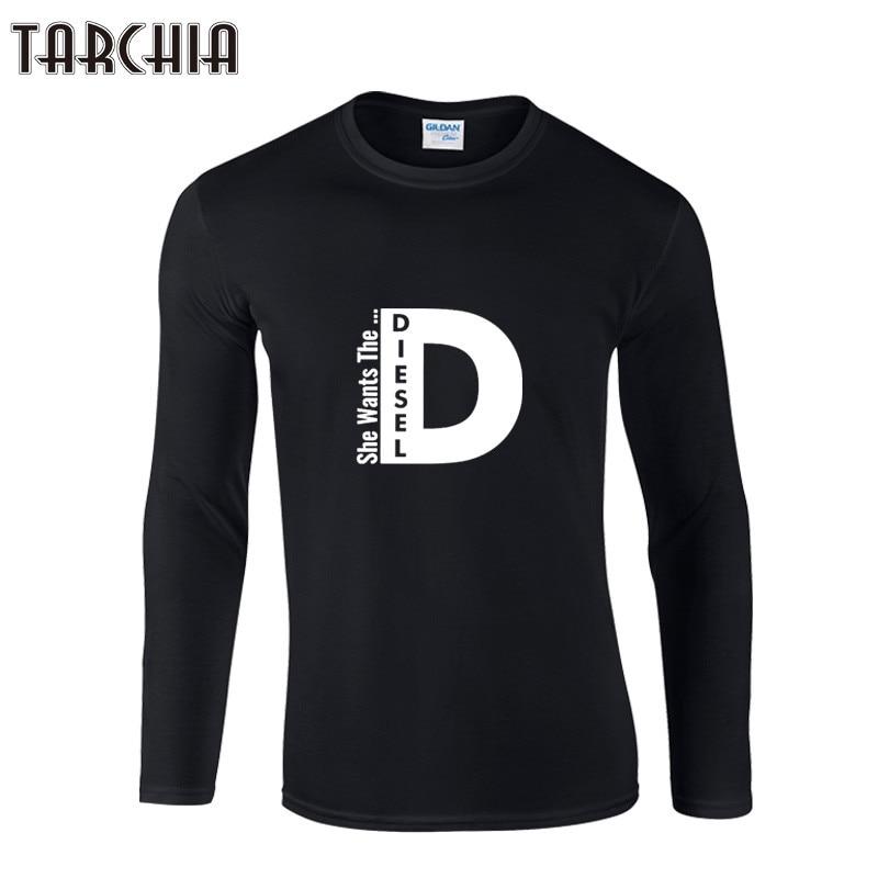 Tarchiia Для мужчин с круглым вырезом хлопковые футболки с длинным рукавом Homme она хочет Diesel мужской Письмо печати Solid Slim Fit Футболки для женщин п... ...