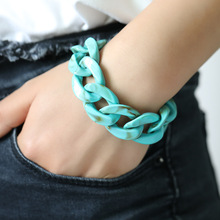 Punk Plastic Thick Link Chain Bracelets For Women Candy Color Acrylic Charm Bracelet Men Wristband Fashion Celebrity Jewelry