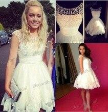 Elfenbein Cocktailkleid Lace Jewel Mini Kurze Heimkehr Kleider 2015 Backless Schöne Auf Verkauf Kurz Abendkleid EB013