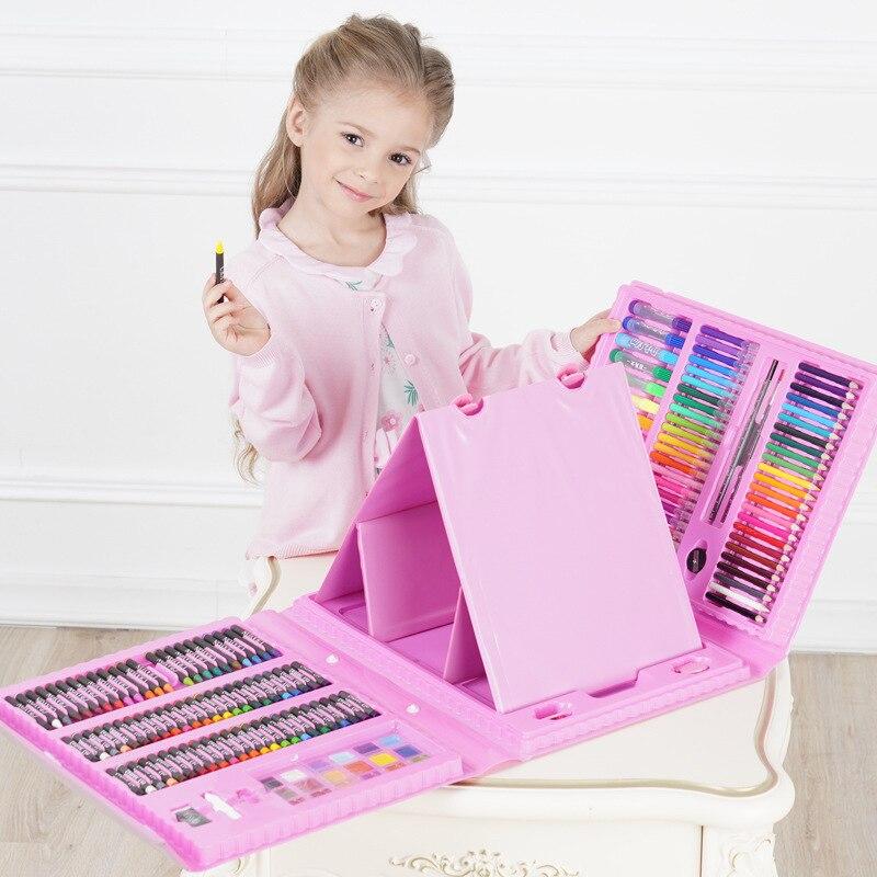 176 pièces Art Set enfants peinture marqueur stylo artiste Crayon dessin stylo pour enfants cadeau boîte Art fournitures