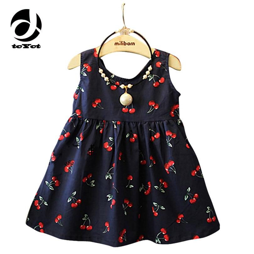 Podpora prodeje Cherry Print Baby Girls Dress 2017 Nové letní holčičky Šaty princezny Batole pro děti