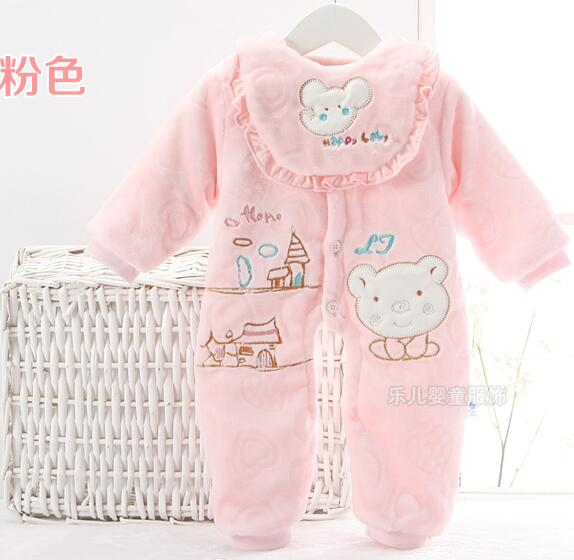 Newborn spring and autumn Baby Rompers Cartoon flannel cotton Baby Clothing Jumpsuit cotton padded jacket
