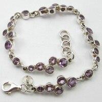 SOLID SILVER Purple Amethysts HANDMADE Bracelet 8.4 ! Jewelry Store