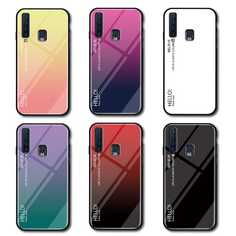 Image 3 - Gradient Tempered Glass Phone Case For Samsung Galaxy A8 A9 A5 A6 Plus A7 2018 A6S A8S A30 A20 A10 A50 A70 A20E Color Cover Case-in Fitted Cases from Cellphones & Telecommunications