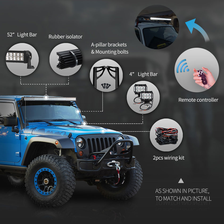 Racbox 52 300w Led Light Bar Kit 4 Work Windshield Mount Wiring Jeep Jk Inch For Wrangler
