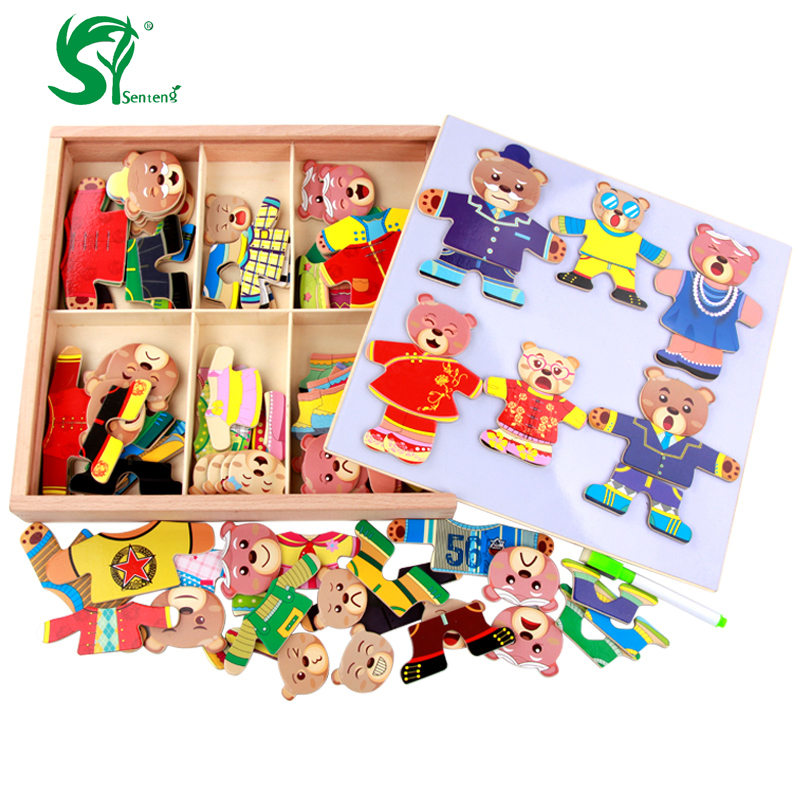 Wooden Toys for Children Magnetic Bear Changing Clothes Puzzle Good Gifts for Funny Educational Kids Toys oyuncak цена