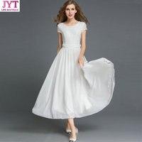 Women BOHO Lace White Chiffon Maxi Dress Ladies Big Swing New Summer Beach Long Dresses Party Vestido Plus Size Black Dress