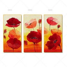 hand painted flowers Dancing Petals Modern Canvas knife painting Floral Oil Painting Wall Art pictures for living room 3 pieces