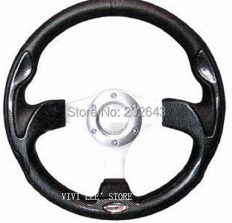 Carbon racing steering wheel with pvc aluminum bracket 13320mm universal red/blue leathe ...