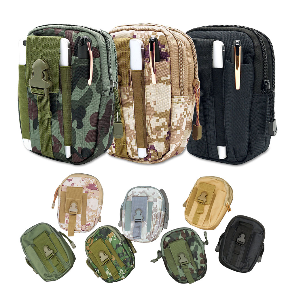 Camping Bags Soft Back Men Tactical Molle Pouch Belt Waist Pack Bag Small Pocket Military Waist Pack Running Pouch Travel