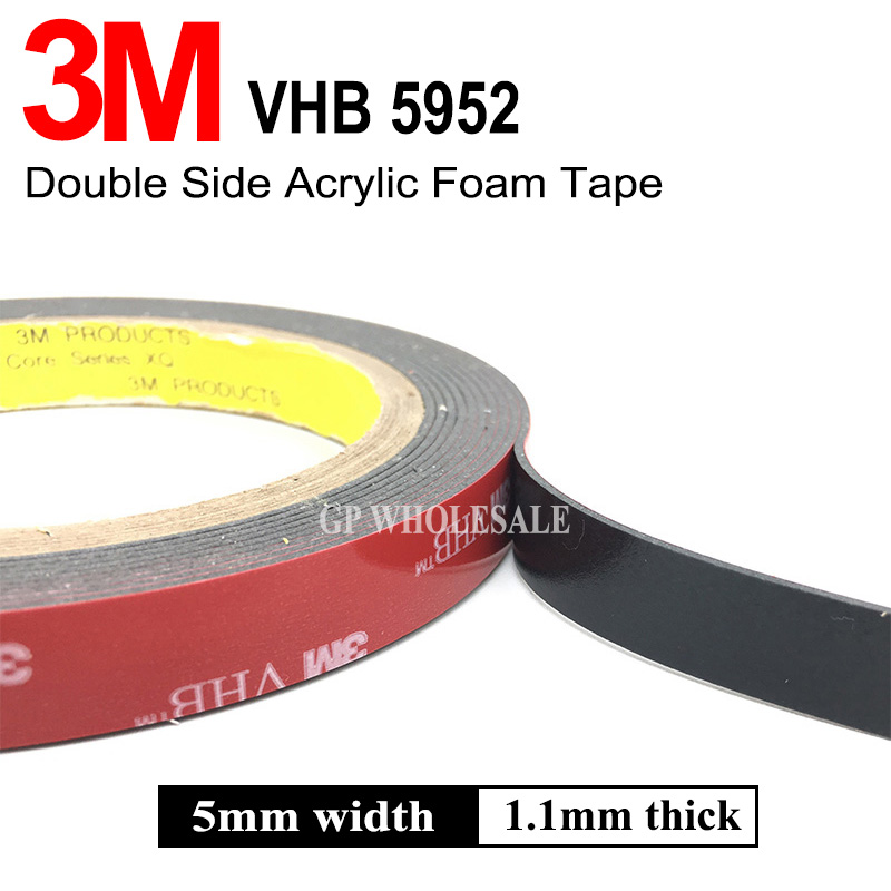 3M VHB 5952 Black Heavy Duty Mounting Tape Double Sided Adhesive Acrylic Foam Tape 5mmx3Mx1.1mm недорго, оригинальная цена