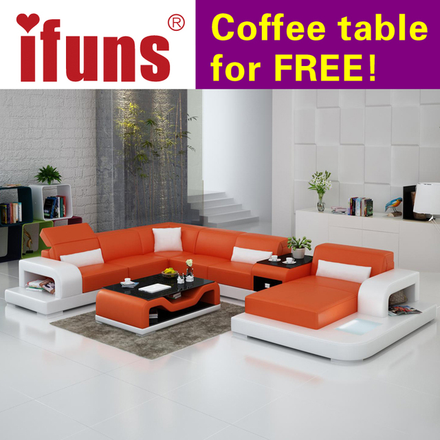 U Shaped Sofa Leather Ashley With Wood Trim Ifuns Extra Large Size Couch Genuine Set Modern Sectional Floor Furniture