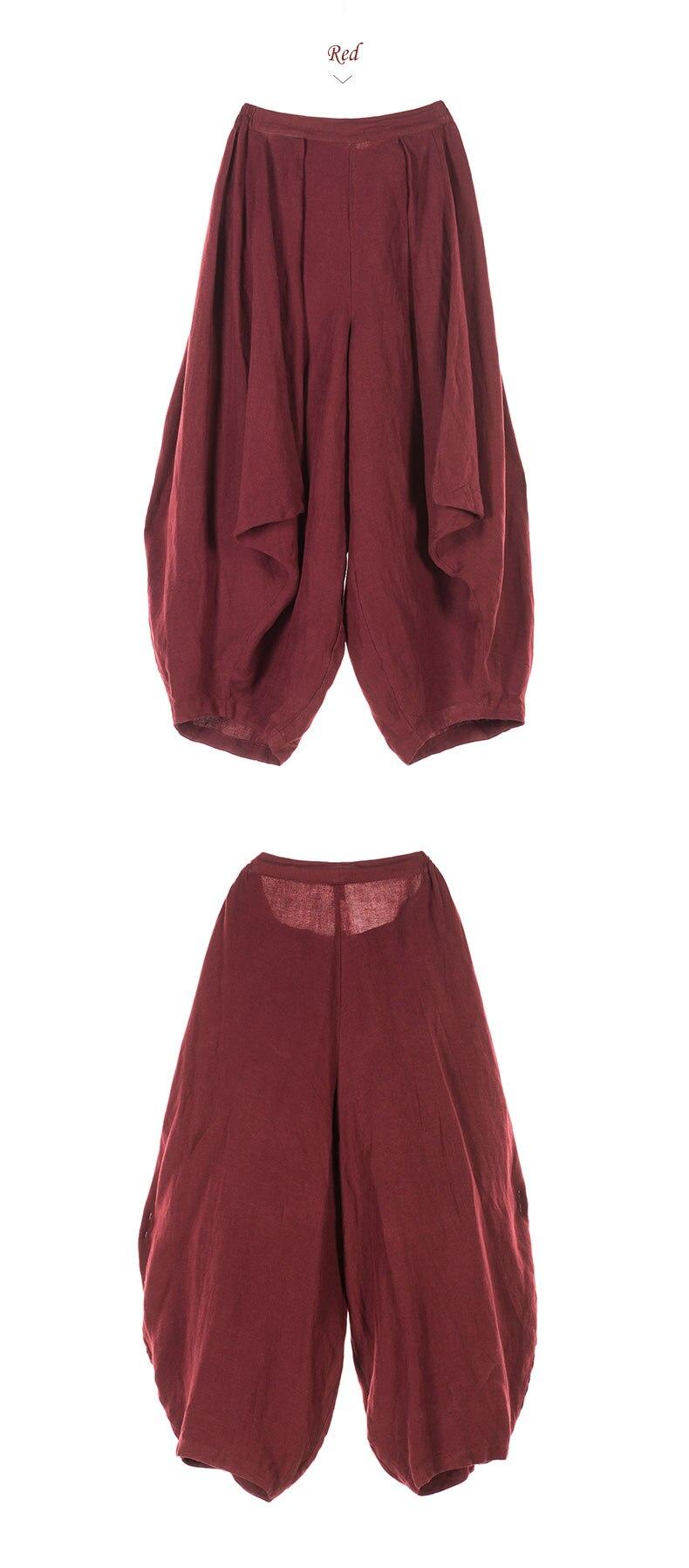 762c318dfb Jiqiuguer kobiety Harem spodnie szerokie spodnie nogi spodnie lniane wiosna  2019 spodnie luźne rocznika dorywczo spodnie dla kobiet duży rozmiar  G143K001