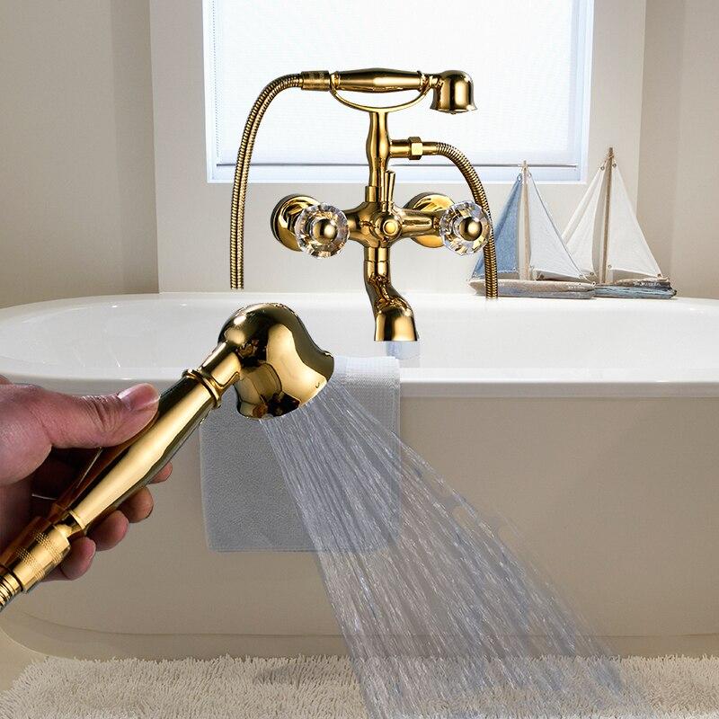 Здесь продается  Newly US Free Shipping Wholesale And Retail Classic Golden Polish Bathtub Faucet Mixer Tap Dual Ceramics Handles W/ Spary Shower  Строительство и Недвижимость