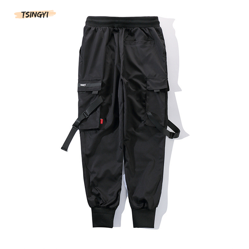 Tsingyi Hip Hop Black Pencil Pants Men Cargo Pants Streetwear Men Pockets Harem Joggers 2019 Summer Fashion Ribbon Mens Pant