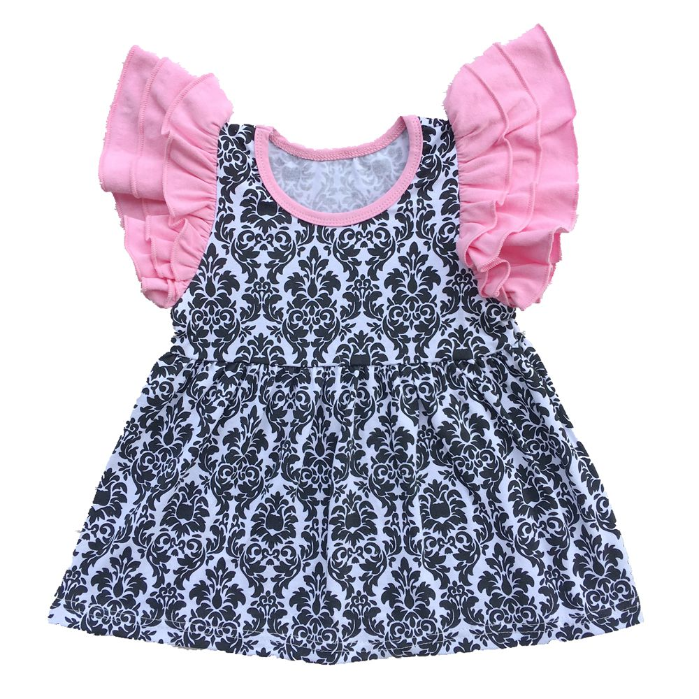 Pearls Tee triple Ruffle Flutter Sleeve top solid ruffle icing shirts cotton Baby girl top,floral damask baby girls clothes cherry print ruffle top