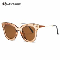 AEVOGUE Sunglasses Women Brand Designer Vintage Cat Eye Frame Steampunk Sun Glasses Copper Temple With Box