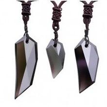 Collar de Obsidiana con Hielo Natural y Colgante de Diente de Lobo