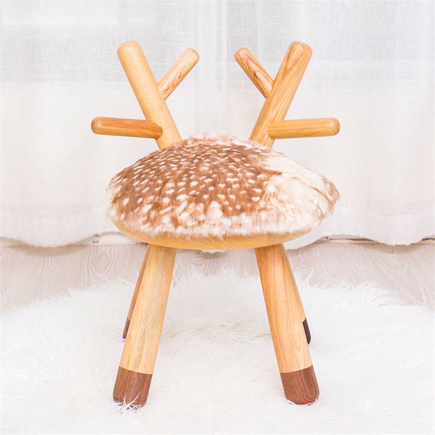 Nordic Animal Design Soft Cushion Mini Ottoman Stool Change Shoes Stool Solid Wood Creative Deer Chairs Children Holiday Gifts