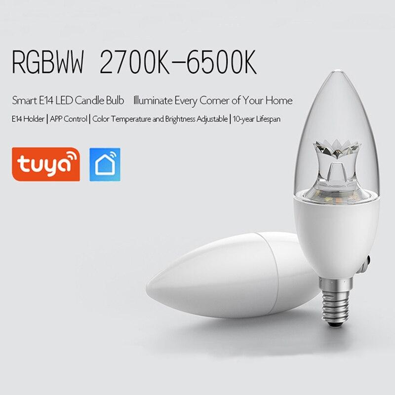 FrankEver 5W E14 Smart LED Bulb Wifi Remote Control RGBWW Lamp Work with  Alexa Google Assistant Tuya APP
