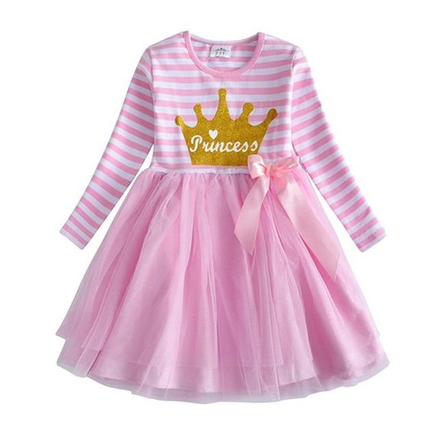 VIKITA Kids Long Sleeve Dresses for Girls Party Dress Star Printed Birthday Tutu Dresses Children Casual Wear Princess Vestidos 19