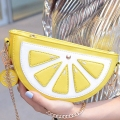 New Fresh Lemon Fruit Funny Bag for Women Crossbody Bags Half Moon PU Leather Ladies Messenger Bag Gold Chain Small Flap Bag L04