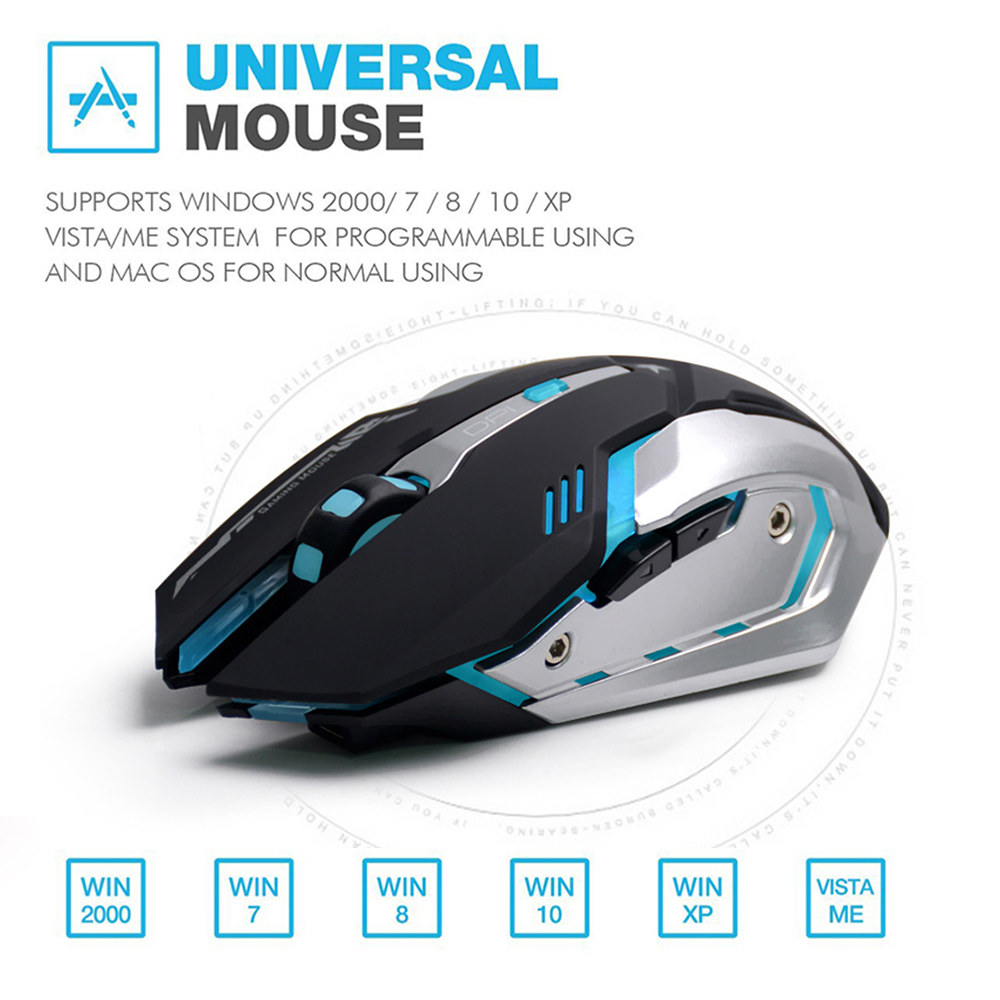 AZZOR Rechargeable Wireless Gaming Mouse 7-color Backlight 1