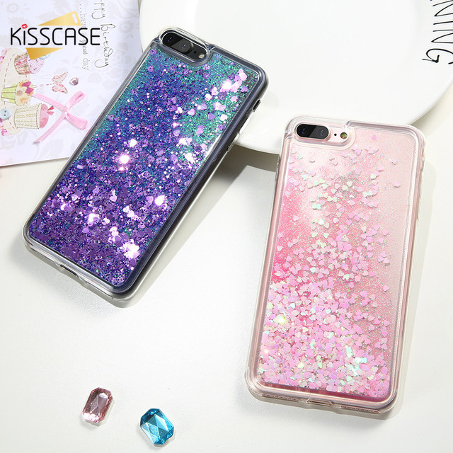 new concept 0beb3 64a8e US $4.86  KISSCASE Glitter Cute Fashion Girl Phone Case For iphone 6 6S 7  Plus Love Heart Sequins Liquid QuicksandSoft TPU Cover For 5S SE-in ...