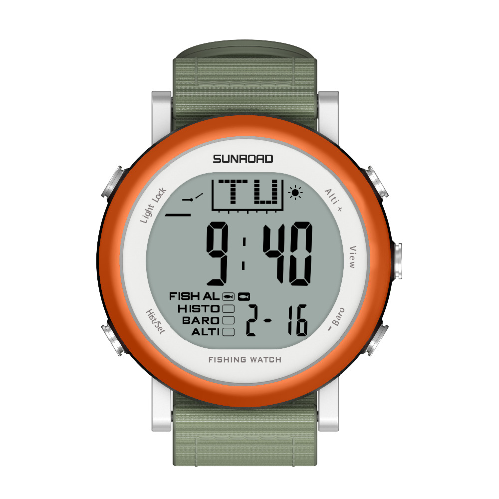 SUNROAD Outdoor Sports Watch Men Weather Forecast 5ATM Waterproof Altimeter Barometer Thermometer Fishing Watches (Orange) outdoor multifunction digital fishing barometer waterproof fishing watch barometer altimeter thermometer sports watch 6 colors