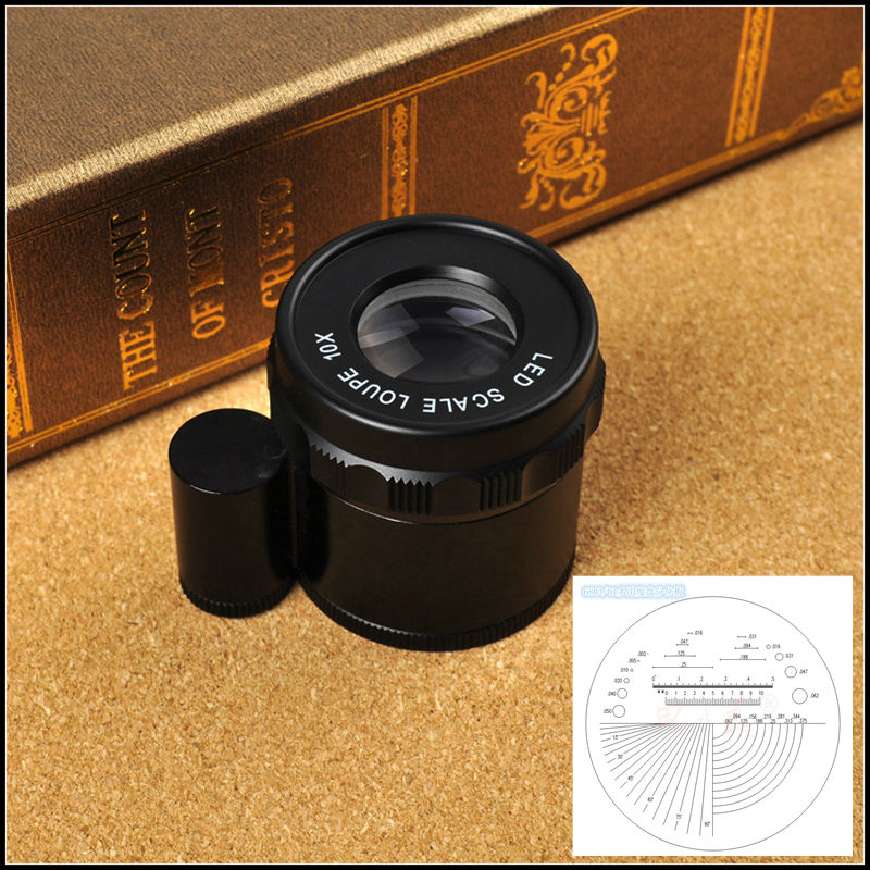Portable Adjustable Pocket 10x Magnifier Optical Glass Lens Magnifying Glass with Measure Scale and 8 LED Light