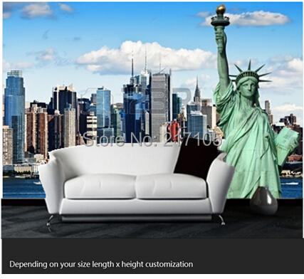 Free shipping custom- modern 3D mural bedroom living room TV backdrop wallpaper Wallpaper KTV bars Statue of Liberty in New York  free shipping england wind red white blue fashion backdrop tv backdrop bedroom living room mural wallpaper