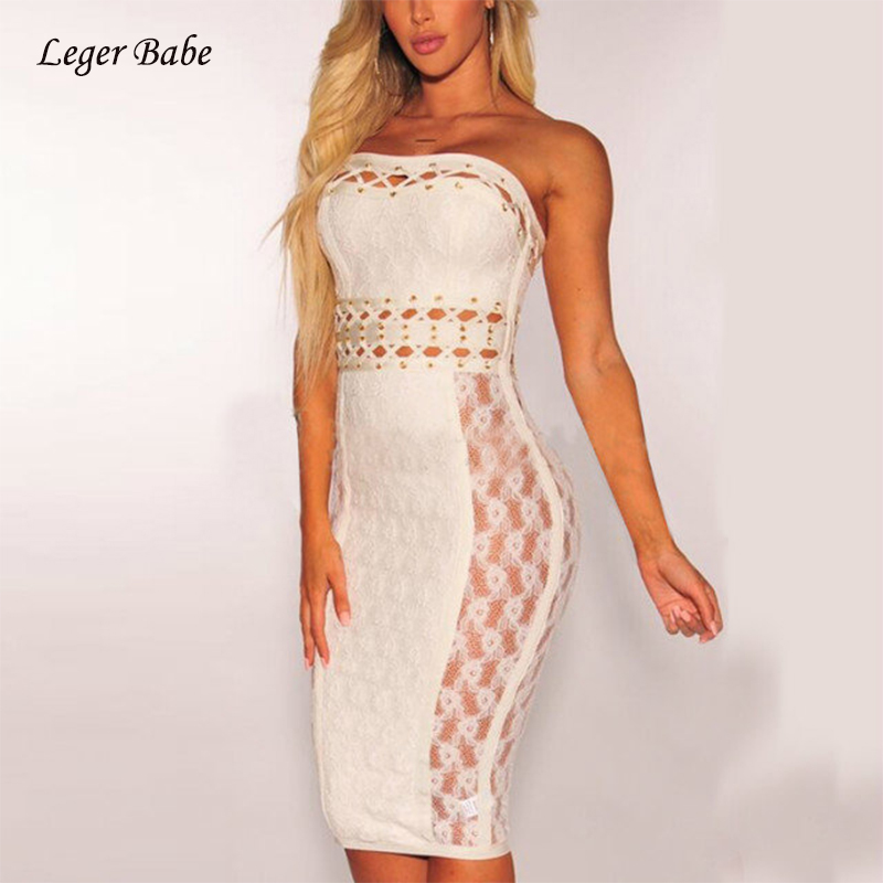 <font><b>New</b></font> Arrival <font><b>Fashion</b></font> <font><b>2018</b></font> <font><b>Women</b></font> White <font><b>Strapless</b></font> Crisscross Hollow Out <font><b>Lace</b></font> Bandage <font><b>Dress</b></font> Bodycon Cocktail Party <font><b>Dresses</b></font> Vestidos image