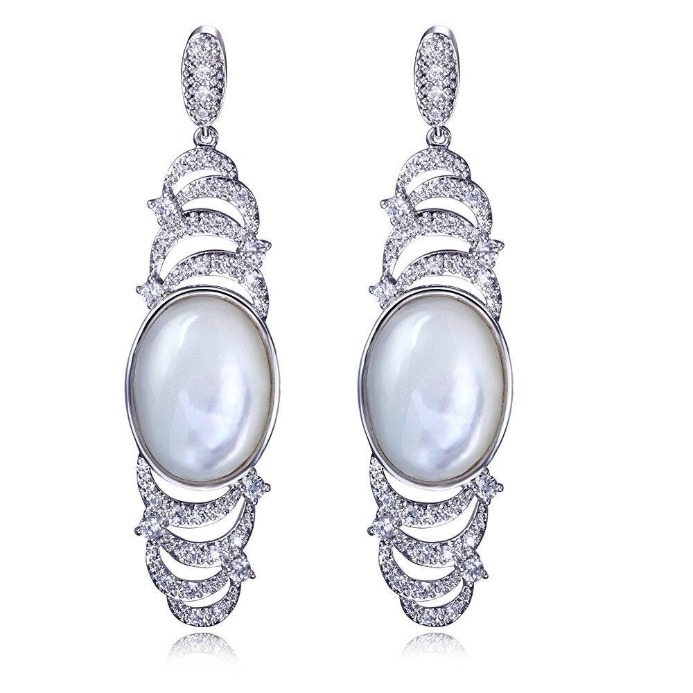 New Arrival Women Long Mother of Pearl Shell Drop Earrings Ethnic Boho Cubic Zirconia Silver Pin Earrings Bridal Jewelry colorful boho earrings