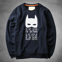 autumn Winter fashion men hoodies casual cotton thicken fleece male pullover tracksuit Batman Printed mens crewneck Sweatshirt