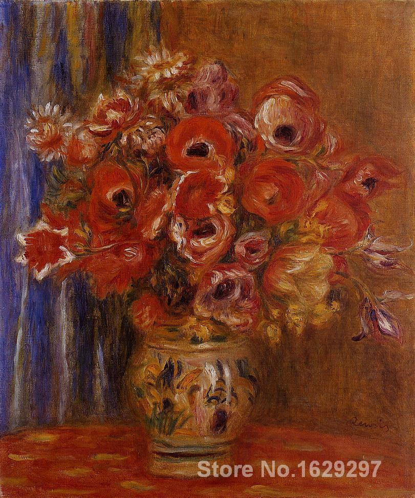 paintings on canvas Vase of Tulips and Anemones by Pierre Auguste Renoir Reproduction High Quality Hand-paintedpaintings on canvas Vase of Tulips and Anemones by Pierre Auguste Renoir Reproduction High Quality Hand-painted