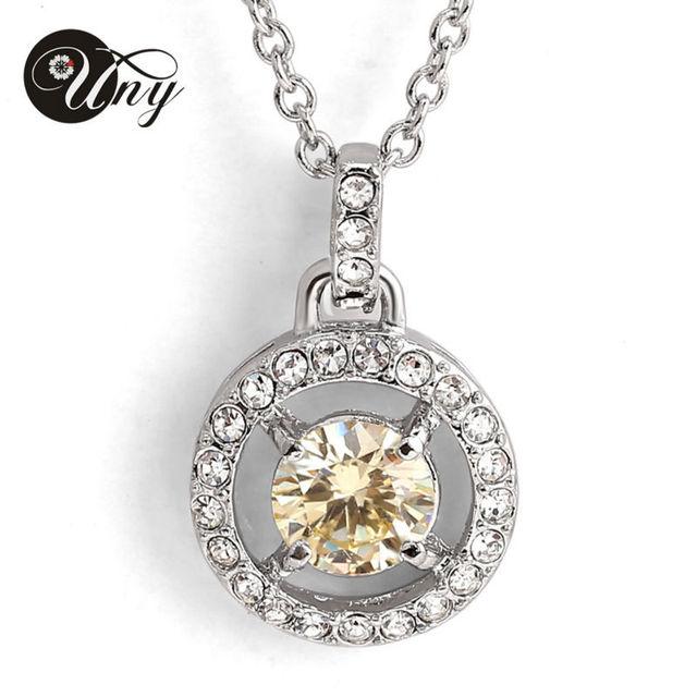 Свадьба ювелирные изделия платиновое покрытие циркон ожерелье женщина ювелирные изделия кулон ожерелье два цвета на выбор