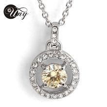 Exquisita joyería de la boda de platino plateado circón collar de la joyería moda mujer colgante collar de dos colores a elegir