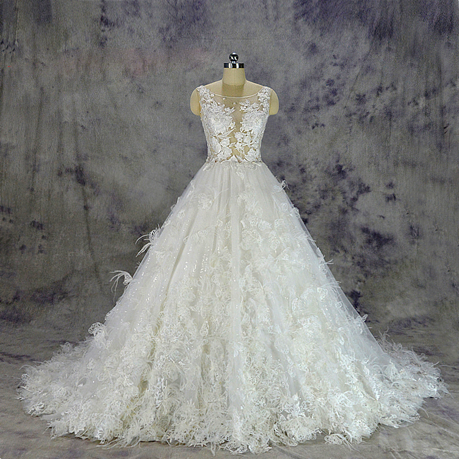 8007fb7bf82 ... lace Wedding Dress sexy transparent top Bridal gown custom made ball  gown skirt with flowers and feathers. HTB1WgzBlgMPMeJjy1Xcq6xpppXaY ...