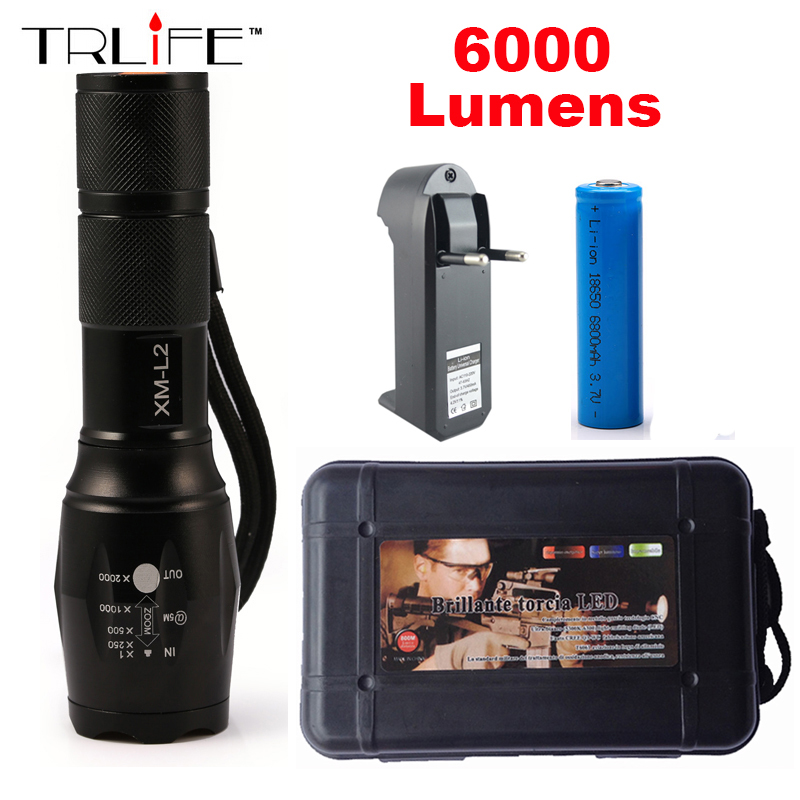 6000LM LED Flashlight CREE XM-L2 Aluminum Torch Zoomable LED Torch Lamp For 3XAAA or 18650 Battery nitecore mt10a 920lm cree xm l2 u2 led flashlight torch