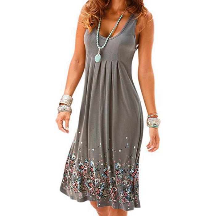 Sleeveless Floral Print Loose Beach Summer Dress Fashion Six Colors Casual Women Dress 33