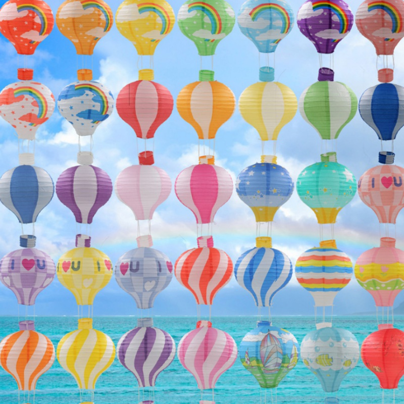 Paper Lanterns Wedding Decoration Ideas: Rainbow Printing Paper Lantern Hot Air Balloon Wedding
