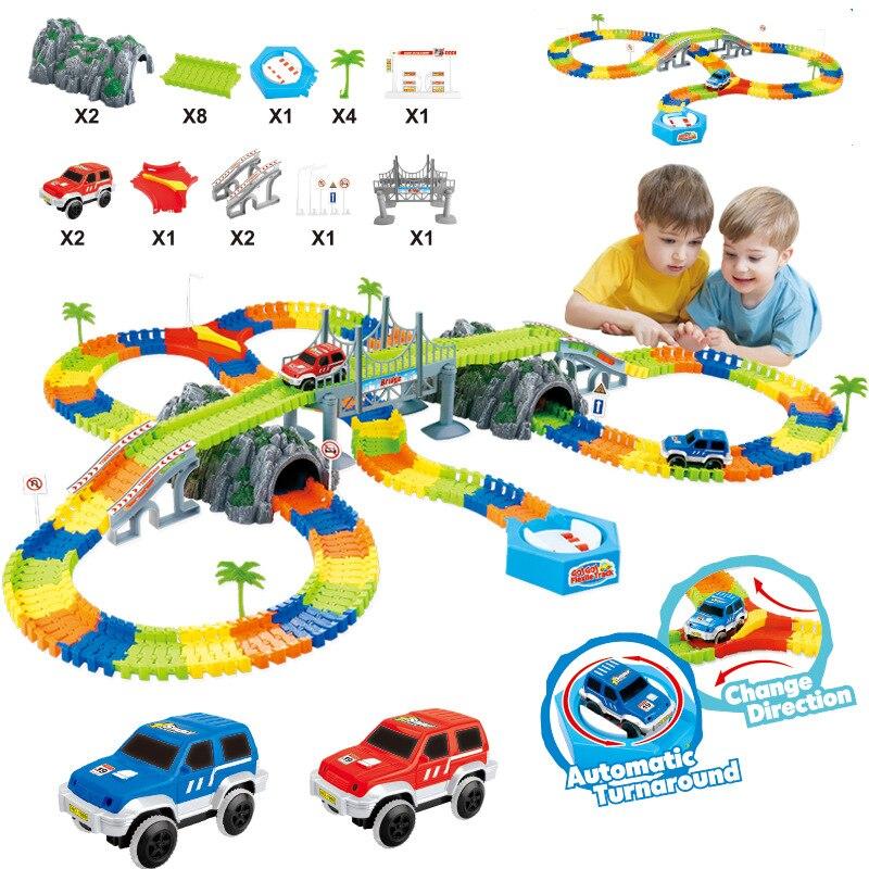 Plus de 240 pièces piste de course magique brillant plier Flexible électronique voiture de chemin de fer jouet Roller Coaster jouets pour enfants cadeaux