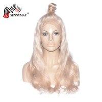 Sunnymay #60 полный шнурок человеческих волос парики блондинка бразильского волос Девы швейцарской прозрачный полная Lave парик с волосами младен
