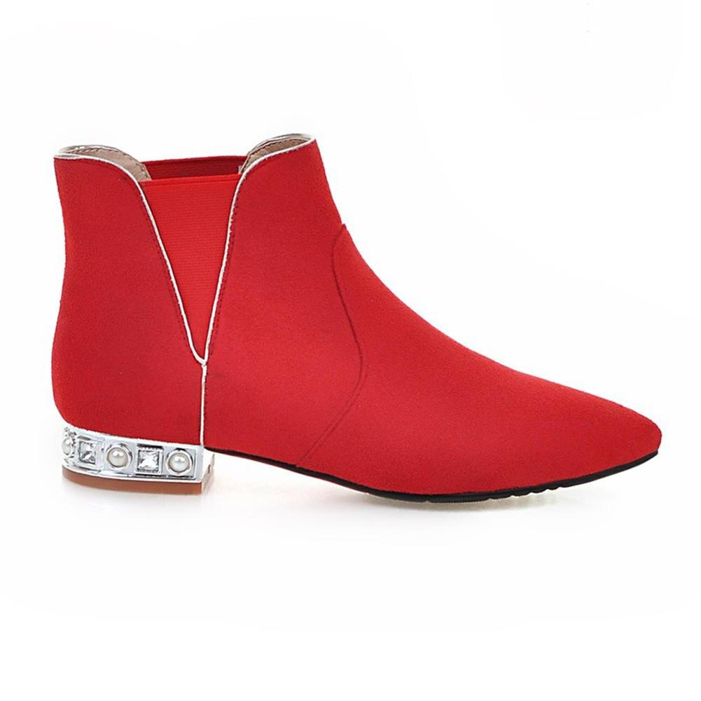 414d1cbf black 2018 Venta Grande Fur Tacones Banda Sólidas Cuadrados Mujer Elegantes  Talla gray Red black gray Caliente Karinluna Zapatos Botines 43 32 De red  Botas ...