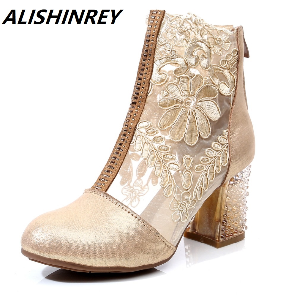 ALISHINREY New Summer Boots Women Genuine Leather Hollow Lace High heel Shoes Round Toe Sexy Fashion