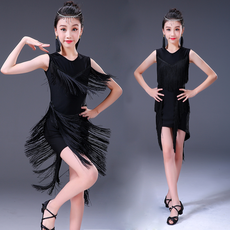 Latin Dance Dress Girls Black Sleeveless Tassel Fringe Dresses Child Kids Salsa Rumba Cha Cha Samba Dancing Practice Wear DN2702