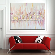 Skills Artist Handmade High Quality Abstract Pink And Gold Oil Painting Big Size Pop Art For Living Room Decoration