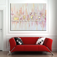 Skills Artist Handmade High Quality Abstract Pink And Gold Oil Painting Big Size Pop Art Painting For Living Room Decoration
